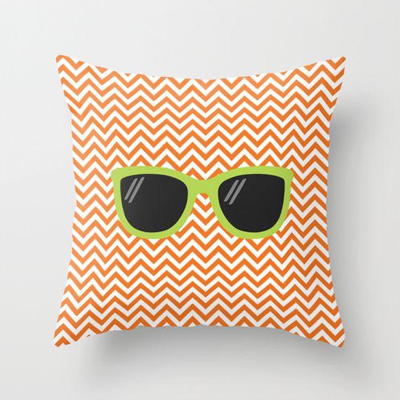 Capa de almofada Óculos Laranja e Verde