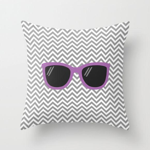 Capa de almofada Óculos Cinza e Roxo
