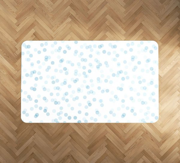 Tapete emborrachado Confetti Azul Retangular