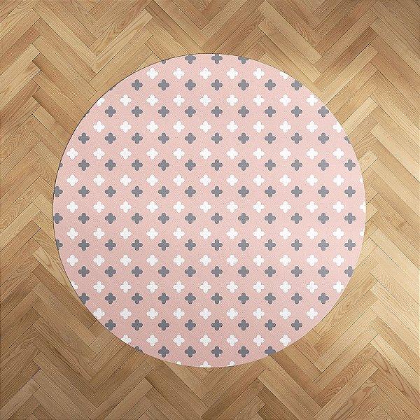 Tapete emborrachado Super Cute rosa quartzo redondo