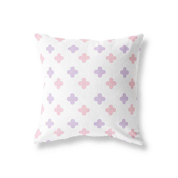 Capa de almofada Super Cute branco, rosa bebê e lilás
