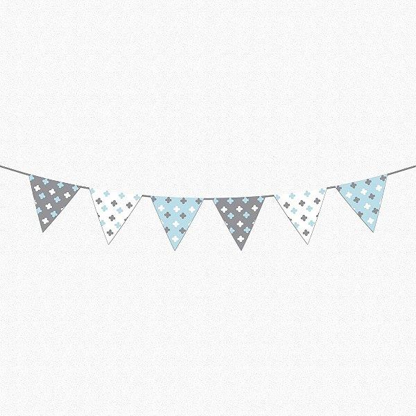 Bandeirola Super Cute azul bebê e cinza