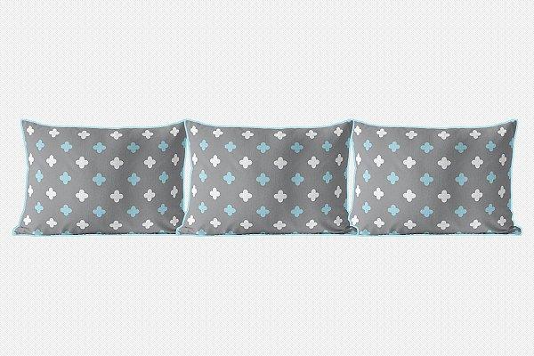 Kit almofadões para cama Super Cute cinza e azul bebê