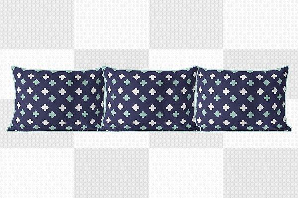 Kit almofadões Super Cute Azul marinho e menta