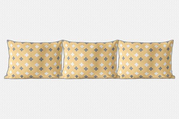 Kit almofadões Super Cute Amarelo e Cinza
