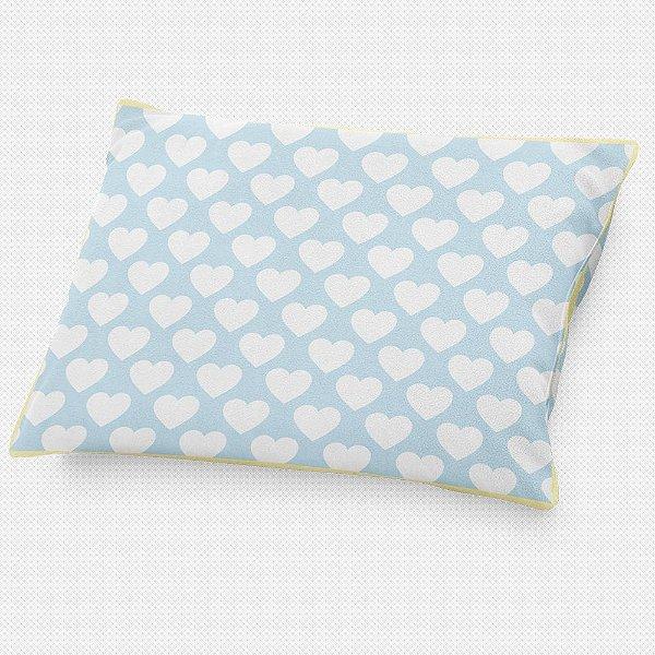 Almofada de cabeceira Corações Azul Bebê