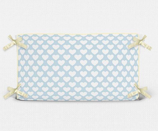 Cabeceira em espuma Corações Azul Bebê