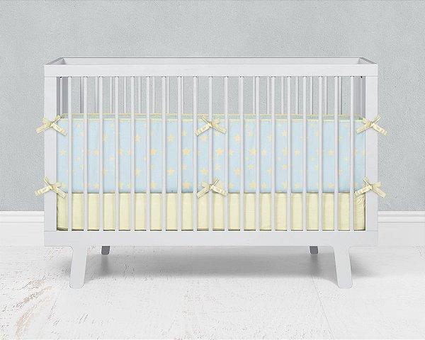 Par de laterais de berço em espuma Azul bebê com Estrelas 2