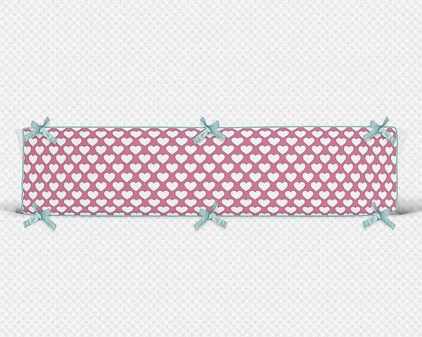 Lateral de berço em espuma Corações Rosa Chiclete
