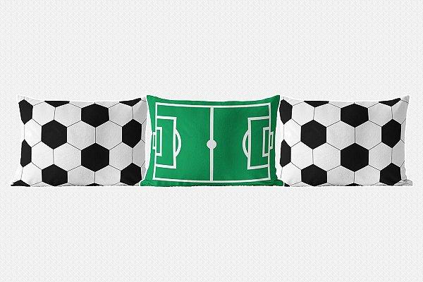 Kit almofadões para cama Campo e bola de Futebol Branca