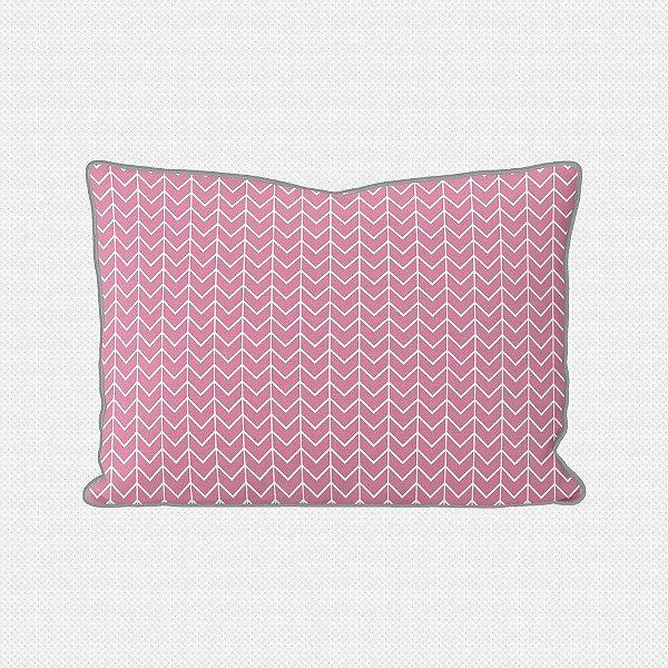 Almofada de cabeceira Ziggy rosa chiclete com vivo cinza
