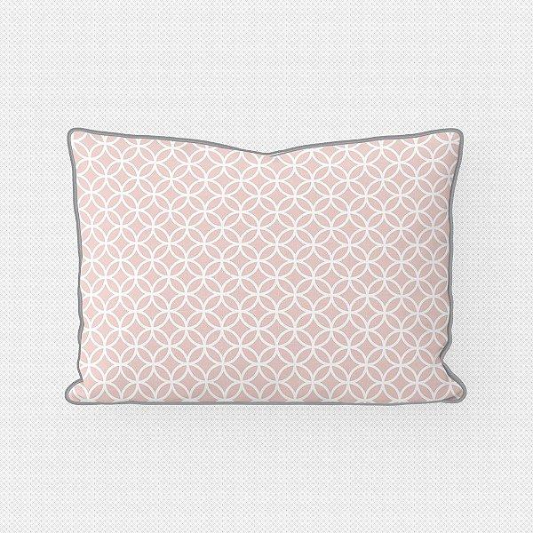 Almofada de cabeceira Circles rosa quartzo com vivo cinza