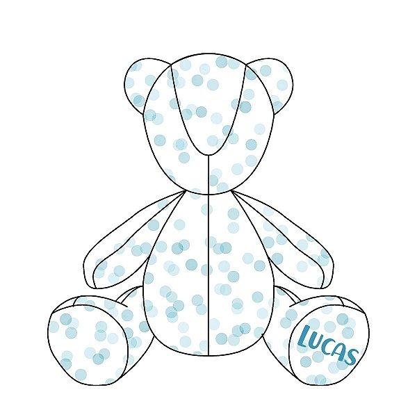 Urso Personalizável Confetti azul
