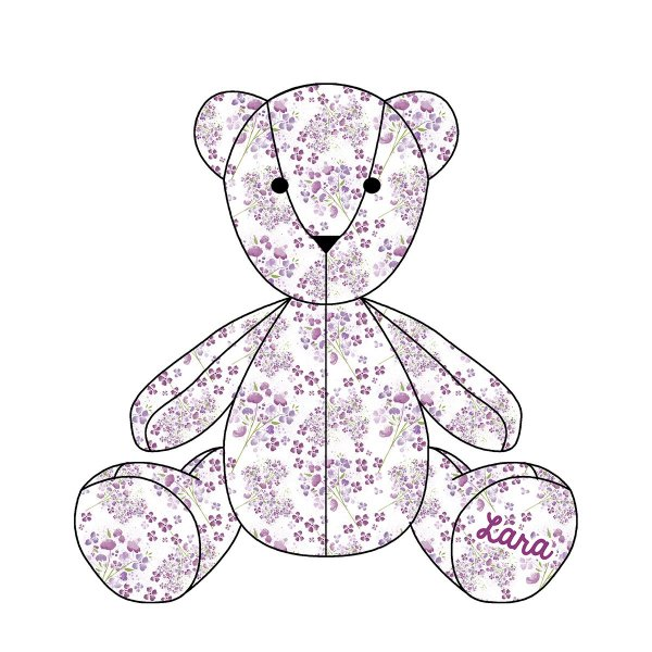 Urso Personalizável Flores roxas
