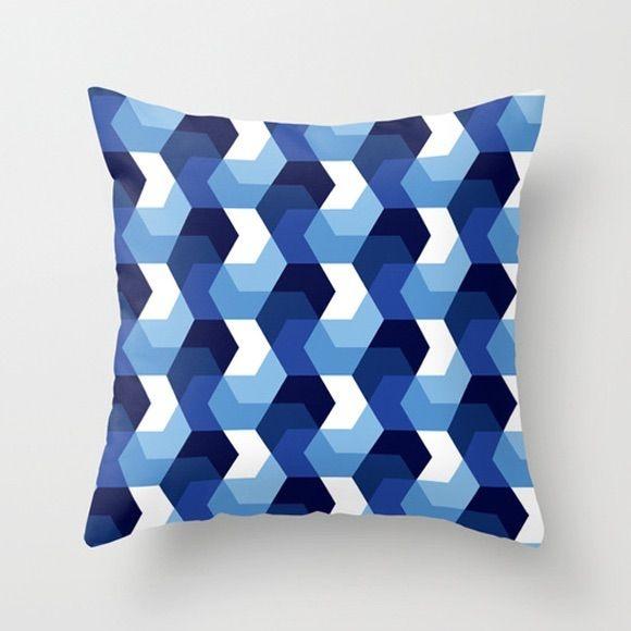 Capa de almofada Hexágonos Azuis