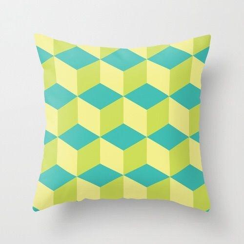 Capa de almofada Cubes Verde
