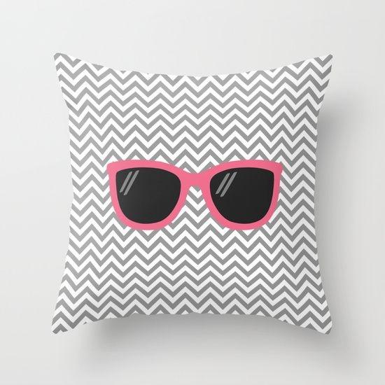 Capa de almofada Óculos Cinza e Rosa