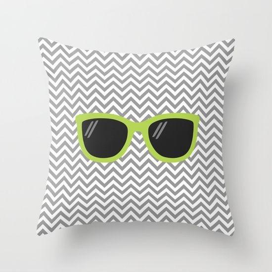 Capa de almofada Óculos Cinza e Verde