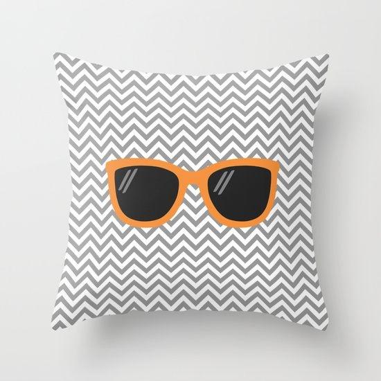 Capa de almofada Óculos Cinza e Laranja