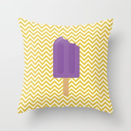 Capa de almofada Sorvete Amarelo e Roxo