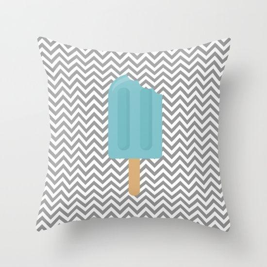 Capa de almofada Sorvete Cinza e Azul