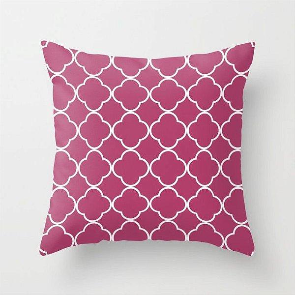 Capa de almofada Quatrefoil Rosa Escuro
