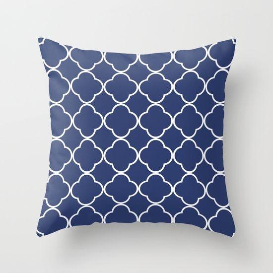 Capa de almofada Quatrefoil Azul Marinho