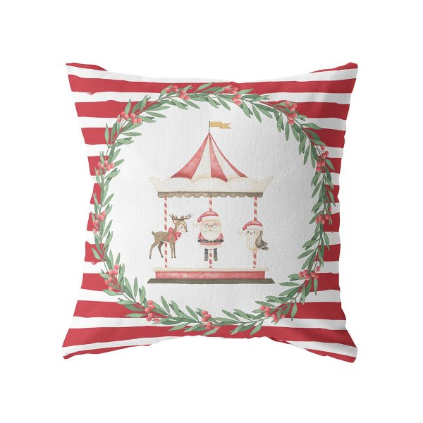 Capa de almofada Carrossel de Natal (mais cores)