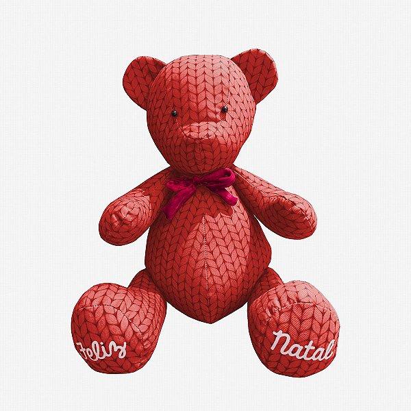 Urso de Natal tricot vermelho