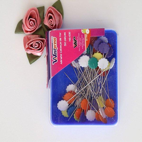 Alfinete colorido em forma de flor