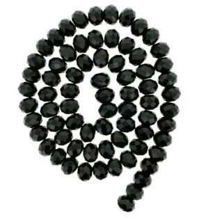 Fio de cristal facetado preto - 8mm