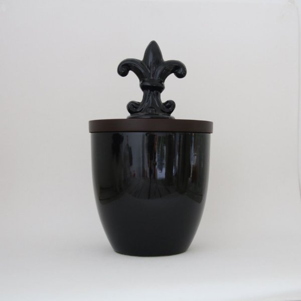 Pote cerâmico Flor de Lis - preto