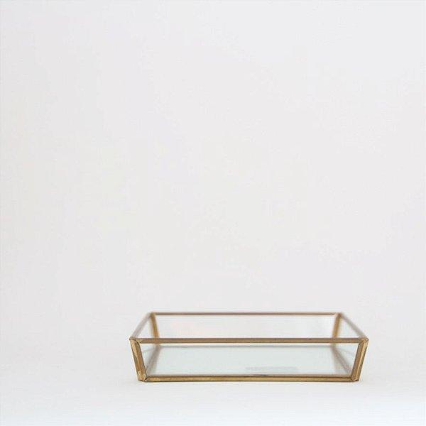 Bandeja de vidro e latão - pequena