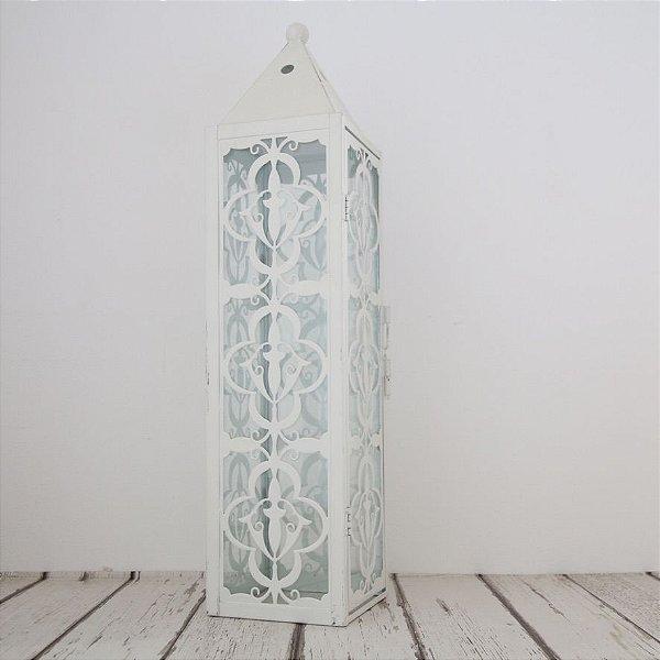 Lanterna decorativa de metal - branca