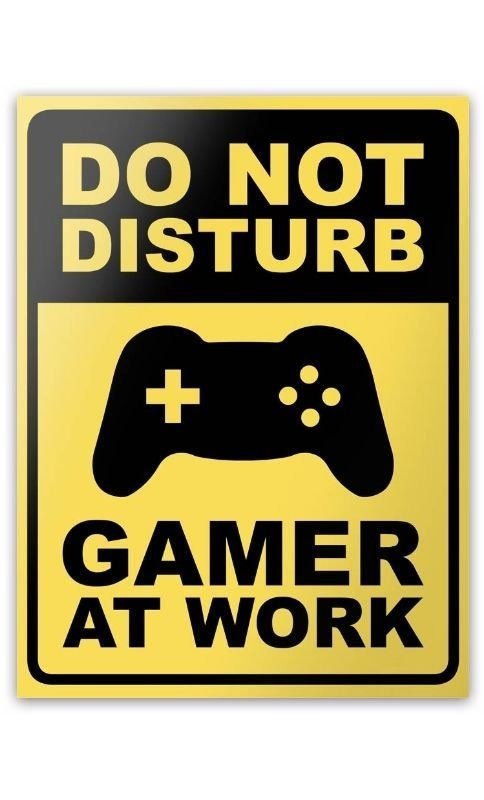 Placa Gamer at Work- 15 x 20 cm  Presentes Criativos