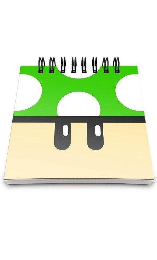 Bloco de Anotações Cogumelo Verde 1 Up  Presentes Criativos
