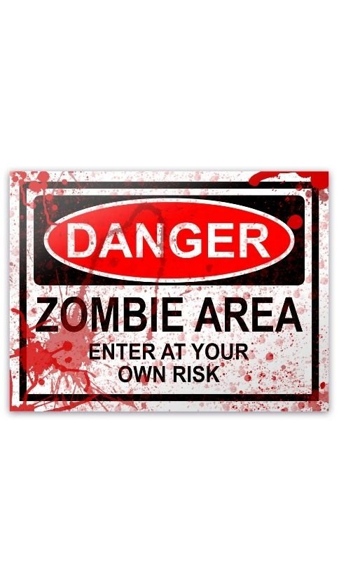 Placa - Danger Zombie Area - BLOOD EDITION - 20 x 15 cm Presentes Criativos - Nerd e Geek - Presentes Criativos