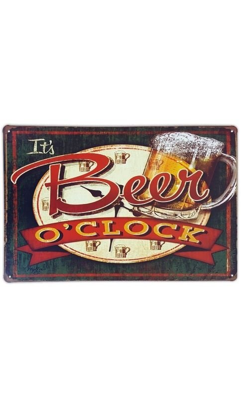 Placa de metal decorativa Retrô It's Beer o'clock Presentes Criativos
