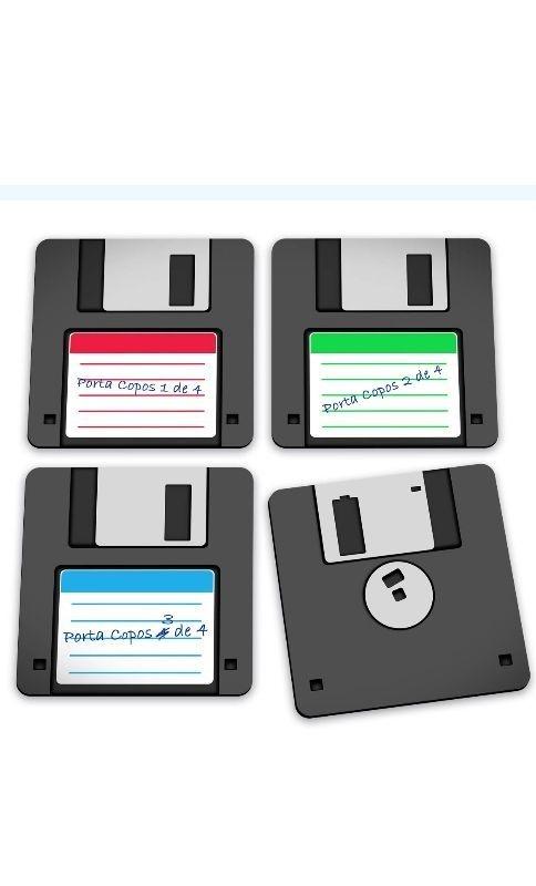 Porta Copos Disquete - Floppy Disk Presentes Criativos - Nerd e Geek - Presentes Criativos
