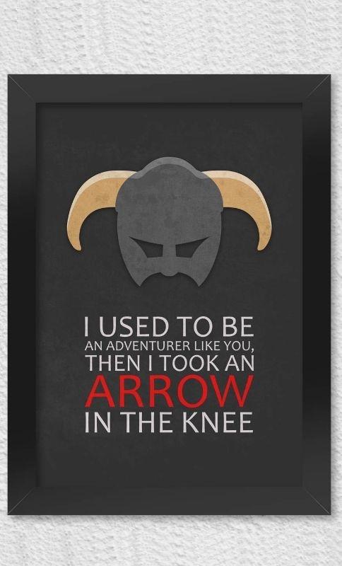 Poster com Moldura Gamer Arrow in The Knee Presentes Criativos