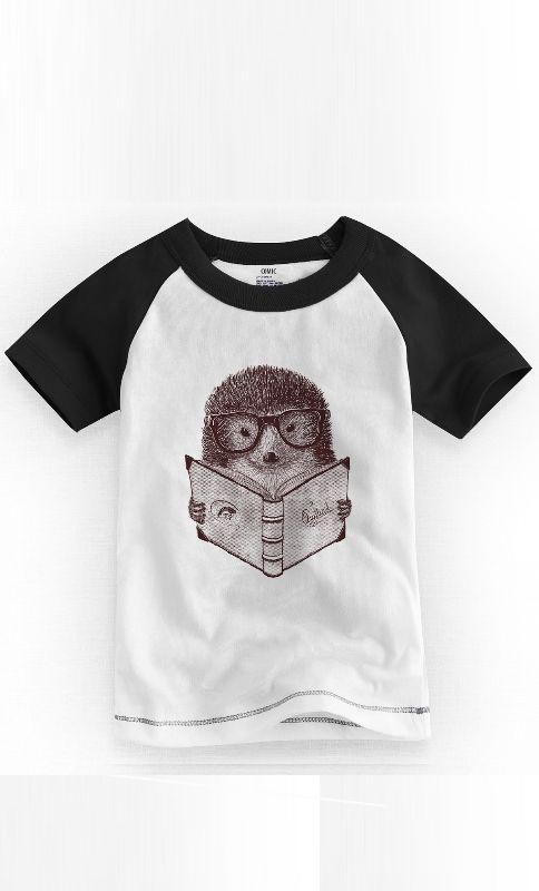 Camiseta Infantil Hipster Hedgehog - Nerd e Geek - Presentes Criativos