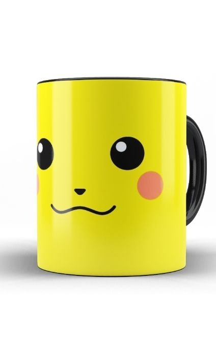 Caneca Anime Pokemon Pikachu Face - Nerd e Geek - Presentes Criativos