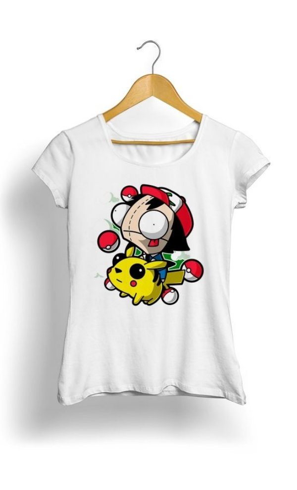 Camiseta Pokemon Pikachu e Ash Happy