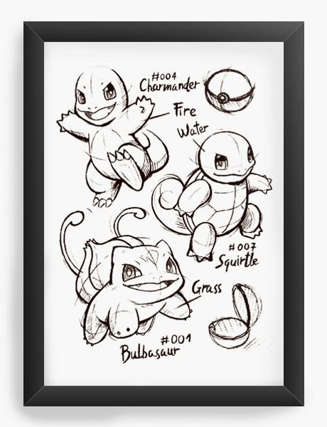 Quadro Decorativo A3 (45x33) Bulbasaur Charmander Pokemon