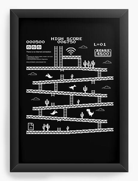 Quadro Decorativo A3 (45x33) Retrô Kong Internet Error