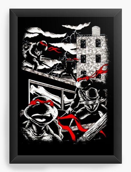 Quadro Decorativo A3 (45x33) Tartarugas Ninjas