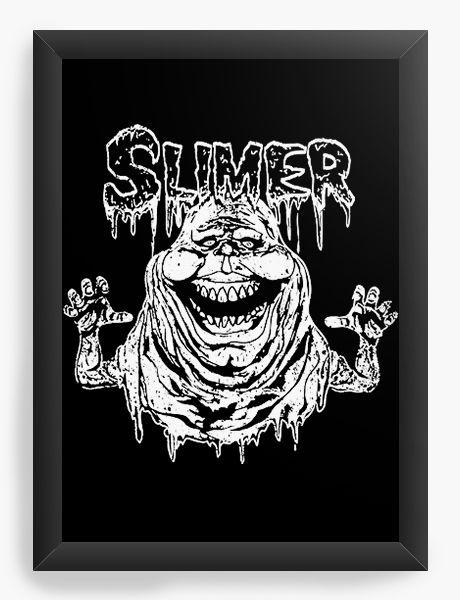 Quadro Decorativo A4 (33X24) Caça Fantasmas, Slimer