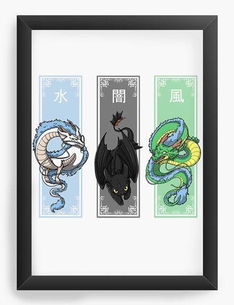 Quadro Decorativo A4 (33X24) Dragons