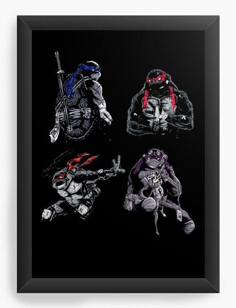 Quadro Decorativo A4 (33X24) Tartarugas Ninjas