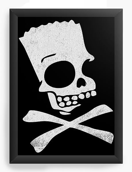 Quadro Decorativo A4 (33X24) The Simpsons Bart Skull